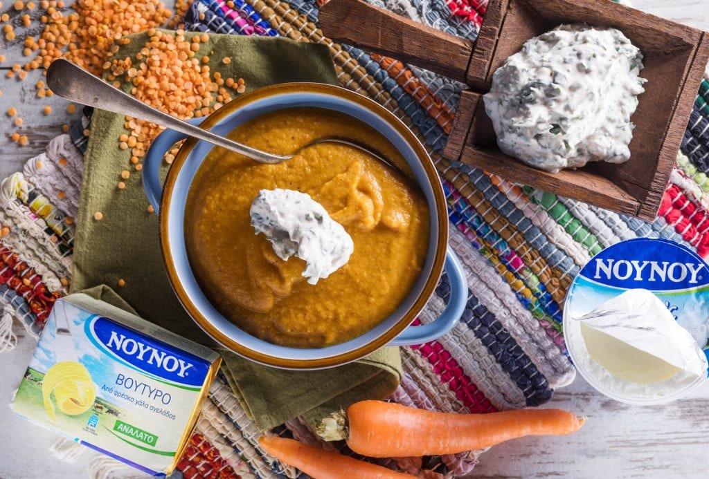 Πικάντικη σούπα με καρότο και φακές